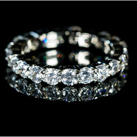 Krista Eternity Round Cut Stackable Ring | 2ct | Cubic Zirconia | Silver