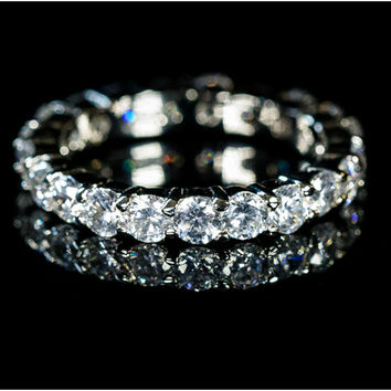 Krista Eternity Round Cut Stackable Ring | 2ct | Cubic Zirconia | .925 Sterling Silver