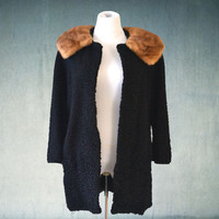 1950s Persian Lambswool Mink Collar Swing Coat Vintage Fur