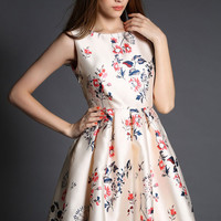 Beige Floral Printed Skater Dress