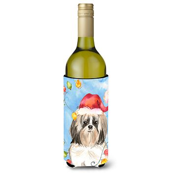 Christmas Lights Shih Tzu Wine Bottle Beverage Insulator Hugger CK2493LITERK