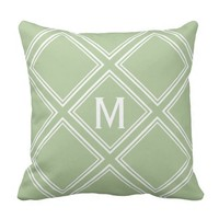 Classy Sage and White Diamond Pattern Monogram Throw Pillow