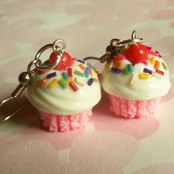 strawberry vanilla rainbow polymer clay cupcake earrings