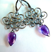 African Amethyst Chandelier Earrings - All Seeing Eye - Oxidized Sterling Silver - Handcrafted Design