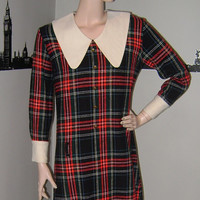 Charming Vintage 1960's MOD PLAID Mini Scooter Dress Schoolgirl Tartan Navy, Red Plaid Min Dress Mad Men
