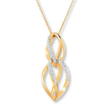 Diamond Necklace 1/10 ct tw Round-cut 10K Yellow Gold