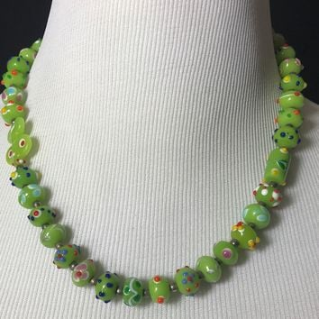 Vintage Green With Multi Color Accents Art Glass Lampwork Glass Bead Necklace