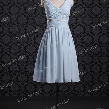 Custom A-line V-neck Sleeveess Knee-length Chiffon Short Bridesmaid Dress Prom Dress Evening Dresses 2013 with Pleated