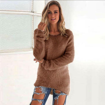 Fashion Women Sweater Long Sleeve Solid Color Women 'S Sweaters Sexy Tops Plus Size  LJ5564E