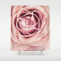 My Heart is Safe with You, My Friend - pale pink rose macro Shower Curtain by Micklyn