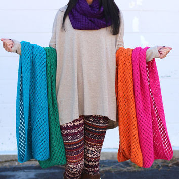 Colorful Knit Infinity Scarf