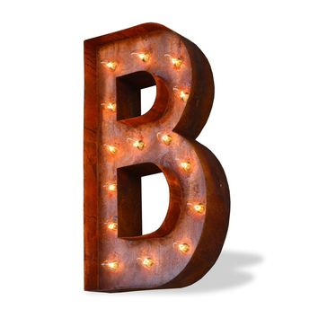 "36"" Letter B Lighted Vintage Marquee Letters (Modern Font/Rustic)"