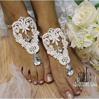 barefoot sandals, beach wedding, bridal shoes, love, barefoot sandle, lace, romantic, shabby chic, victorian, ROMANTIC silver rhinestone and white lace | BF30