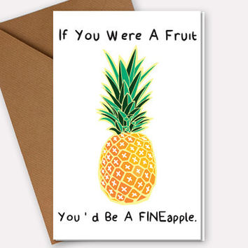 Funny Birthday Card For Her, Wife or Girlfriend, Adult Anniversary Card, Naughty Birthday Gift, Pineapple Pick Up Line Blank or Custom