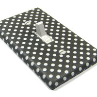 Gray and White Polka Dots Light Switch Cover Switchplate Switch Plate Modern Home Decor 1301