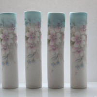Tube vase made from English fine bone china with blue rim and vintage flowers illustrations - illustrated ceramics