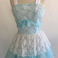 Vintage 1950s Prom Dress 50s Tulle Dress Strapless Light Blue with White Lace