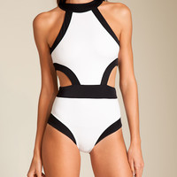 OYE Swimwear: Holly High Neck Swimsuit at Nancy Meyer