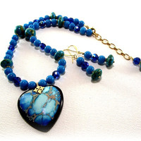 Womens Necklace Set -  So So Pretty Tropical Blue Variscite Heart Pendant and Turquoise Necklace With Matching Earring