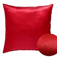 "Red 16"" x 16"" Decorative Textured Satin Cushion Cover Throw Square Pillowcase for Chair Sofa Living Room Accent Pillow"