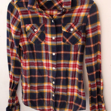 Yellow Blue Red Plaid Button Down Shirt Women's size XS