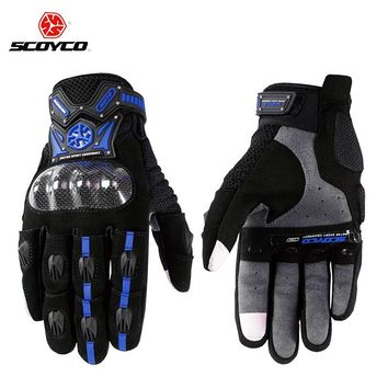 Motorcycle Scooter Touch Gloves  Carbon Fiber Protective Racing Gears Silicone Motos Motocicleta Men SCOYCO M-20 Guantes