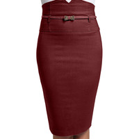 LE3NO Womens Fitted High Waisted Pencil Skirt with Belt (CLEARANCE)