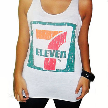 Classic 7 Eleven Print Vest Punk Rock Tank Top Very Thin Cotton Women T-shirt White Size Xs S M