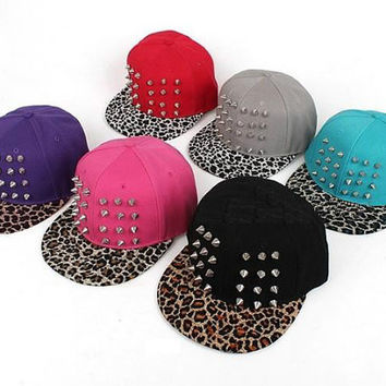 Leopard Cheetah Print Custom Spike Studded Snap Back Hat