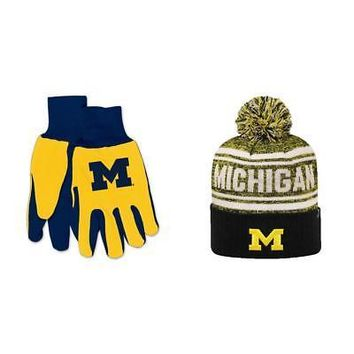 Licensed NCAA Michigan Wolverines Grip Work Glove And Driven Beanie Hat 2 Pack 84988 KO_19_1