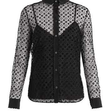 Floral polka dot-flocked layered tulle blouse | REDValentino | MATCHESFASHION.COM UK