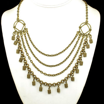 Women's Multistrand Necklace with Beautiful Celtic Beads and & Three Cascading Chains in Antique Brass, Statement Necklace, Gift for HER