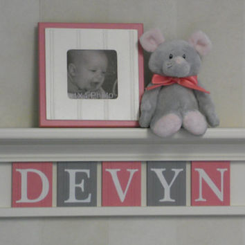 "Gray Pink Newborn Baby Girl Nursery Decorations - Baby Name Sign for DEVYN- 24"" Shelf 5 Pink and Gray Wooden Letters"