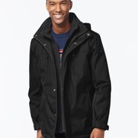 Calvin Klein Hooded Knit-Bib Water-Resistant Windbreaker | macys.com