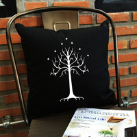 SALE !! White tree of gondor throw pillow cover, pillow cover cotton canvas pillow cover