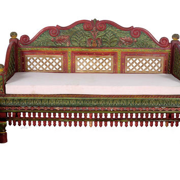 TEAK WOOD HAND PAINTED CARVED BACK TEAK WOOD SOFA SET - 3 PCS