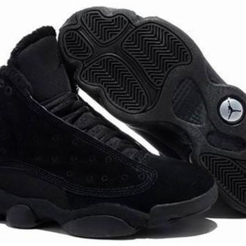 Cheap Nike Air Jordan 13 Men Shoes Suede Pure Black