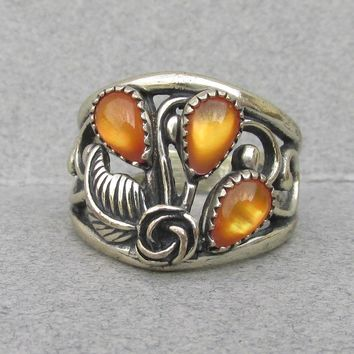 Native American Navajo Vintage Sterling Silver Ring with Amber Moonstone Glass, Size 7