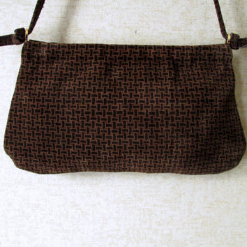 Suede Shoulder Bag Vintage 60s Mad Men era high fashion hipster chocolate brown suede purse with spring frame Walborg handbag made in Italy