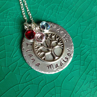 Handstamped Personalized Family Tree Pendant with a Sterling Silver Necklace and Three Swarovski Crystal Birthstones, Handmade