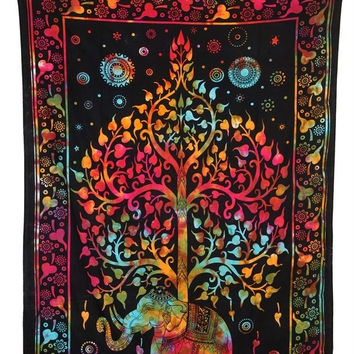 100%Thick cotton Bedsheet Indian Elephant Tapestry, Mandala Tree Life, Psychedelic Bedspread (TWIN SIZE, 100% PREMIUM QUALITY)