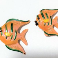 Gerrys Painted Enamel Orange Angel Fish Scatter Pins  Figural Animal Brooch Mid Century Jewelry 518