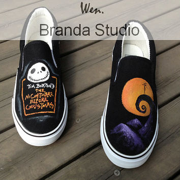 Christmas Gifts-Nightmare Christmas Shoes,Studio Hand Painted Shoes Slip On Sneakers Canvas Shoes Custom shoes,100% Hand Painting,Flat Shoes