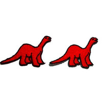 Set 2 pcs. Red Dinosaur Patches - Apatosaurus New Iron On Patch Embroidered Applique Size 4.6cm.x3cm.