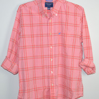 American Eagle Pink Plaid Casual Button Shirt Large Mens