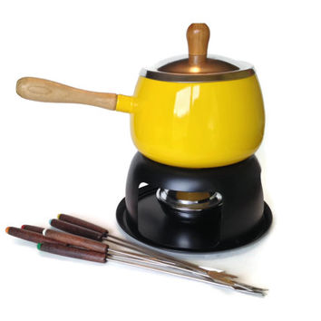 Yellow Fondue Set, Vintage Fondue Pot, Forks, Never Used