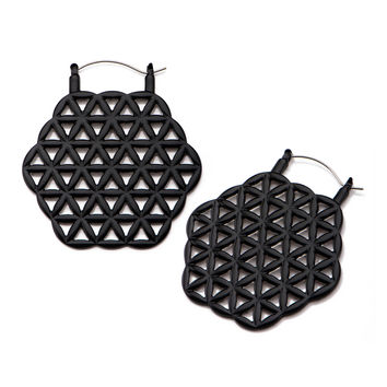 Black Flower of Life Inca Earrings (PAIR)