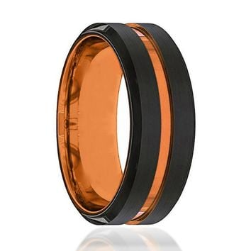 Black And Orange Tungsten Mens Wedding Band Tungsten Ring Luscious Orange Tungsten Wedding Band