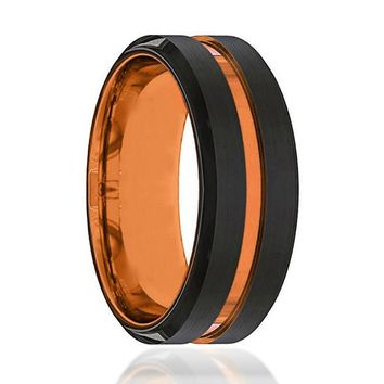 Black And Orange Tungsten - Mens Wedding Band - Tungsten Ring - Luscious Orange - Beveled Edge - Tungsten Wedding Band