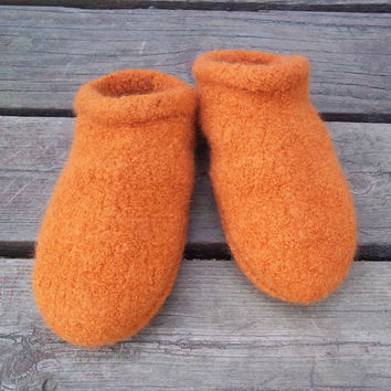 Felt Clog Slippers Knit Orange